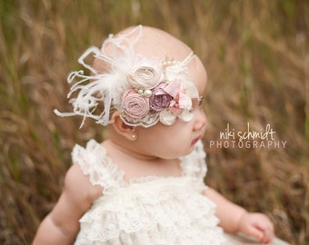 Newborn Headband-Baby Headband- Gold Baby Headbands- Flower Girl Headband- Toddler Headbands