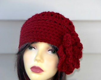 Womens Burgundy Hats Winter Hat Woman Women's Hat Crochet Winter Accessories