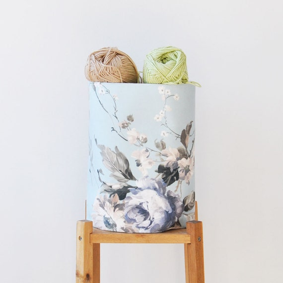 Handmade Fabric Storage Baskets : Medium round blue fabric storage bin nursery by lovejoycreate
