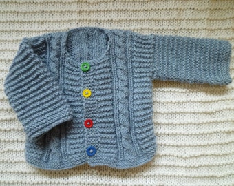 Baby boy gift,knit baby cardigan, hand knitted blue baby sweater,knit baby boy sweater , free shipping