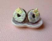 Kawaii Chocolate/Vanilla Rilakkuma Bear-Donut Earrings