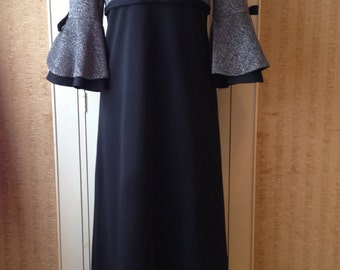 1970s silver and black maxi formal dress with feature bell bottom sleeves by Maxine