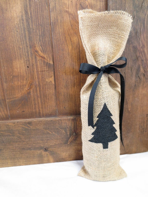 Items similar to christmas burlap gift bag wine gift bag Burlap bag decorating ideas