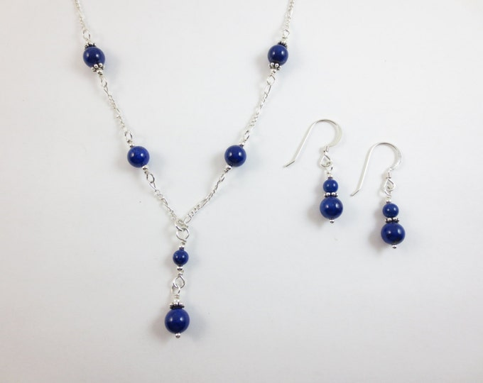 6 mm Blue Lapis Lazuli Beaded Y Necklace & Earrings Jewelry Set on Sterling Silver or 14k Gold Fill - Bead Jewelry - Beaded Jewelry