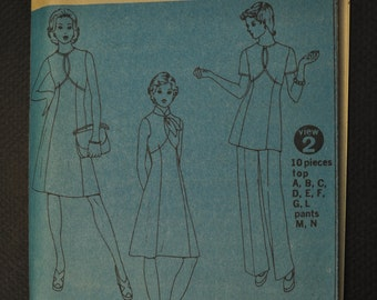Simplicity 6338 Key Hole Dress Top & Pants Size 16 Uncut Vintage 1970s Sewing Pattern Year 1974