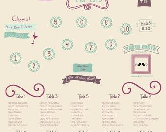 Wedding Map, Wedding Seating Chart, Printable Seating Chart, Digital Seating Chart, Reception Map