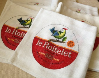 French Linen Napkins le Roitelet Camembert Cheese