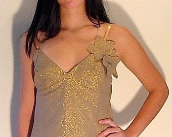 Camisole in Metallic Silk, Silk Camisole, Camisol Top, Tank Top, Sparkle Camisole in Metallic Golden Beige Tussah/Raw Silk, OOAK