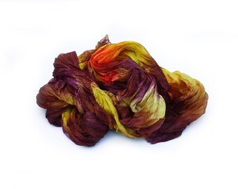 burgundy silk scarf - Honey Cherry -  burgundy, cherry, yellow, orange silk scarf.