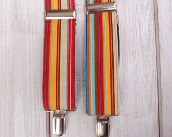 Rainbow Suspenders, Striped Womens Suspenders, Multicolored Womens Braces, gift for her, girlfriend gift, Birthday Gift, Christmas gift