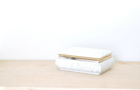 Vintage White Italian Lidded Jewelry-Trinket Box
