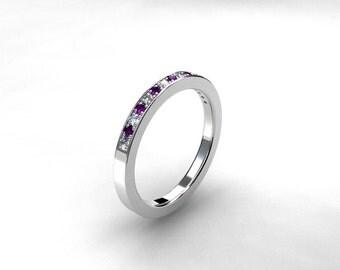 Amethyst ring, wedding band, eternity ring, white gold, amethyst wedding, purple, violet, amethyst, wedding ring, custom, pave, nickel free