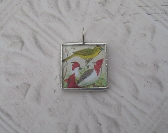Soldered Glass Pendant/Charm - Cardinals