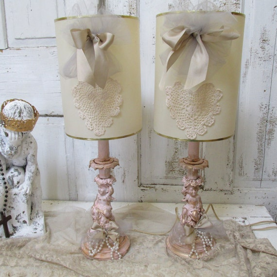 pink cherub table lamps shabby chic up cycled accented in gold blush. Black Bedroom Furniture Sets. Home Design Ideas