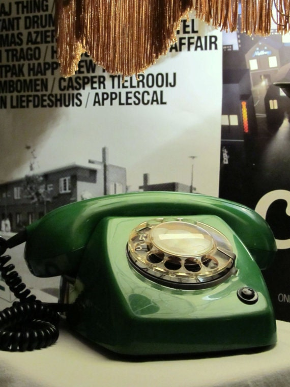 Vintage Rotary Telephone Olive Green color