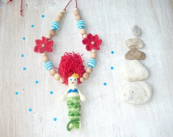 Babywearing necklace,Mermaid toy,Nursing necklace,Teething jewelry,Toddler necklace,Red green blue,Kokadi baby wrap carrier,