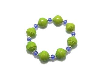 Bracelet, Paper Bead Bracelet, Paper Beads, Green Paper Beads, Green Bracelet, Lime Green Bracelet, Lime Green Beads, Bright Green Bracelet