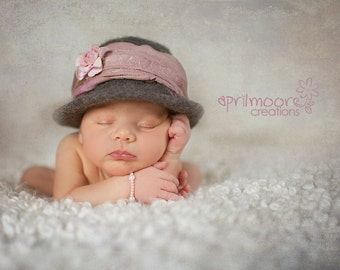 Felted Newborn Hat  ~ Bowler  ~ Felted Bowler ~ Baby felt hat ~ Hand knit  felt ~ Organic ~ Twins~Newborn photo prop~infant prop~baby hat