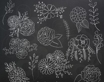Chalk Flowers Clip Art Graphics in White, Hand Drawn and High Quality