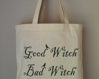 HALLOWEEN WICCAN Good Witch Bad Witch Tote Bag professionally printed on eco friendly cotton canvas tote
