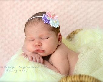 Baby Headband, Infant Headband, Newborn Headband, Toddler Headband -Spring Satin Cluster