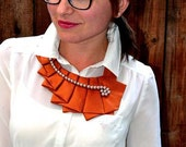 Autumn Fabric Necktie Necklace Unique Clothing Accessory, Hand Made Upcycled High Fashion Fall Accessory 100% Silk