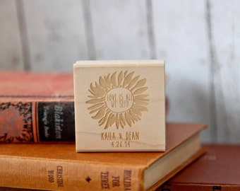Sunflower Stamp, Seed Favor Stamp, Custom Favor Rubber Stamp, Wedding Stamp, Calligraphy Stamp, Seed Packet Stamp, Summer Wedding Stamp