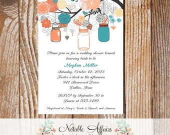 Gray Peach Coral Teal Turquoise Elegant Flowers Mason Jars - Bridal Shower, Baby Shower, Birthday etc Invitation - no color changes