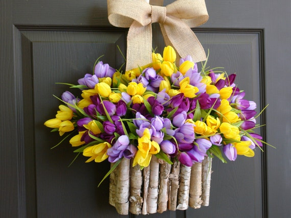 spring wreath-Easter wreath-Easter gifts-decorations-front door wreaths-purple yellow lavender spring tulips wreaths