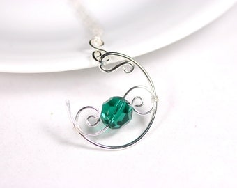 Emerald Necklace Green Swarovski Necklace Wire Wrapped Jewelry Handmade Sterling Silver Jewelry Handmade Swarovski Crystal Jewelry