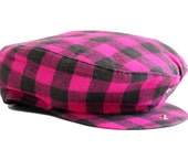 Newsboy Cap / Vintage Deadstock / Flannel Hat / Buffalo Plaid / Small Gifts / Magenta and Black / United Hatters Label / 1970s 70s