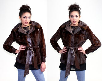 1970s Mink Fur Leather Bohemian Jacket