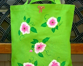 Hand Painted Neon Green Tote Bag With Pink Flowers, Gifts For Her, Gifts For Mom, Teacher Gift, Back To School Bag, Book Bag