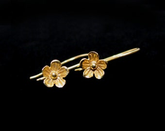 SALE Gold Vermeil Flower Ear Wires 1 or 3 pairs 8mm Flower Blossom EW208