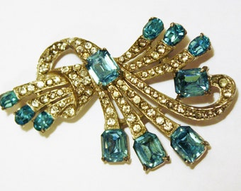 Joseph Wiesner Rhinestone Blue Brooch New York Jewelry Costume Bridal Grandmother Gift For Her