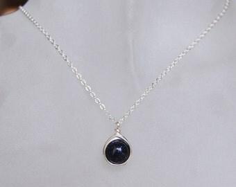Blue Goldstone Necklace , Bridesmaids Necklace , Navy Silver Necklace