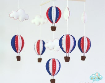 Navy and red hot air balloons baby mobile - baby mobile - red and blue