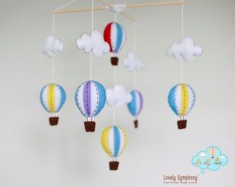 sunday morning hot air balloons baby mobile - baby mobile