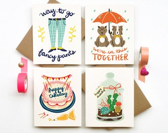 Buy 3 Get 1 FREE greeting cards stationery calligraphy typography hand lettered chic clever cute paper goods promo deal
