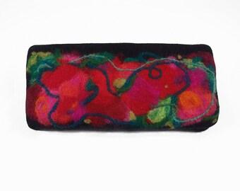 Felted Clutch Nunofelt Wallet Felt Bag Felt Nunofelt Nuno felt Rainbow Fairy Fantasy Folk Boho Silk Wool