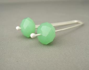 Spearmint Green and Sterling Silver Czech Glass Dangle Earrings