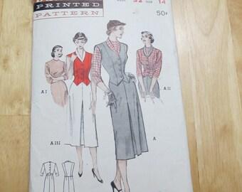 1940s Butterick 5659, 3 piece suit, size 14, bust 32