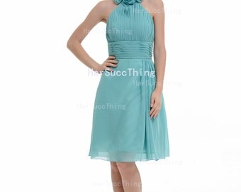 Turquoise Bridesmaid Dress, Halter Knee-length Chiffon Bridesmaid Dress