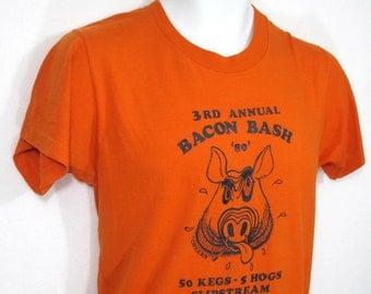 Vintage 3rd Annual BACON BASH T-Shirt Sz.S 1980's