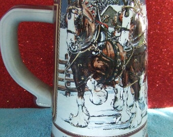 1989 Budweiser Collector's Series 'Hitch on a Winter's Evening' Limited Edition Holiday Stein