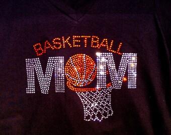 Rhinestone Mom Bling Basketball Shirt- Team, School, Spirit Apparel
