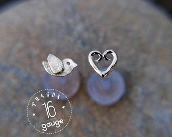 Tiny bird TRAGUS SET Sterling silver Labret /16 gauge/ BioFlex/tragus heart/ tragus earring/cartilage earring