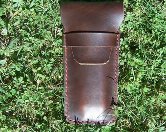 Leather Pen Pouch in  Horween Brown CXL. Also available in Black or Burgundy. Made by BaytowneleatherUSA.
