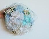 CLEARANCE vintage 1950s ocean blu sky mint blue lady hat with sheer veil / polka dot / velvet / booming flower feather