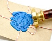 B20 Wax Seal Stamp Personalized Crown Wreath Custom Initial